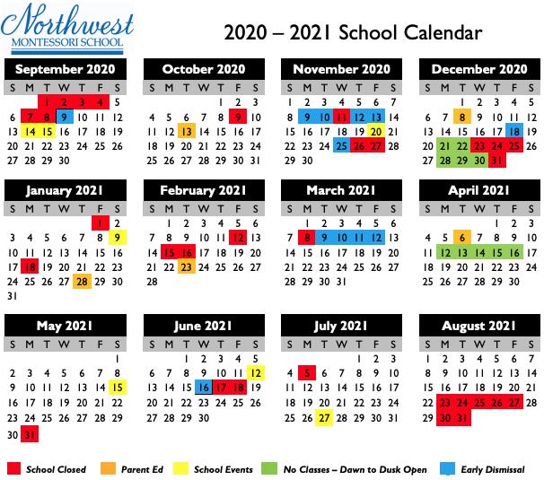 Printable NWM 2020-2021 Calendar